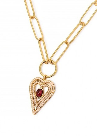 SORU JEWELLERY Amore 18kt gold-plated necklace / heart pendant necklaces