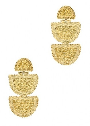 SORU JEWELLERY Lucina 18kt gold-plated drop earrings – long tiered statement drops - flipped