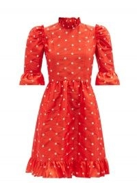 BATSHEVA Spring floral-embroidered silk-taffeta dress | vintage style fashion | red ruffle trim prairie style dresses