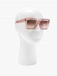 CELINE EYEWEAR Square acetate sunglasses in pink | large retro sunnies | brown gradient lenses