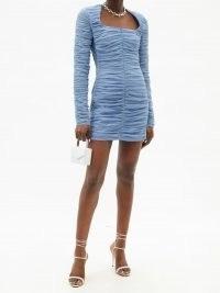 DAVID KOMA Square-neck ruched tulle mini dress | blue square neck party dresses | evening glamour