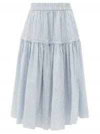 LOVESHACKFANCY Stefana striped cotton-voile midi skirt | blue and white stripe summer skirts