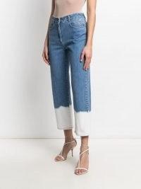 Stella McCartney dip dye hem jeans ~ blue and white colour block denim