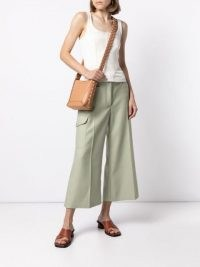 Stella McCartney high-waisted wide-leg cropped trousers sage green