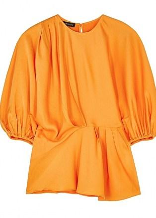 STINE GOYA Cora orange satin blouse ~ bright balloon sleeve asymmetric blouses - flipped