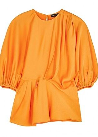 STINE GOYA Cora orange satin blouse ~ bright balloon sleeve asymmetric blouses