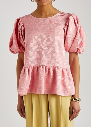 STINE GOYA Miren pink peplum jacquard top - flipped