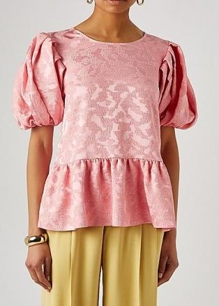 STINE GOYA Miren pink peplum jacquard top