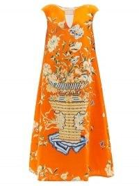 MARTA FERRI Stresa floral-print linen-twill trapeze dress / orange bold print dresses