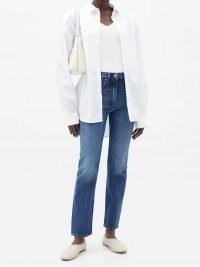 TOTÊME Studio cropped straight-leg jeans ~ blue denim ~ crop hem ~ high rise waist