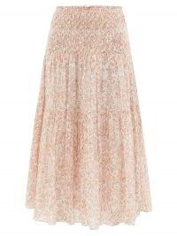 LOVESHACKFANCY Swift floral-print cotton-voile midi skirt | pink shirred summer skirts