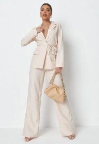MISSGUIDED tall cream stripe linen look tie tailored blazer skinny