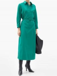 THE ROW Tanita belted cotton shirt dress ~ green collared dresses