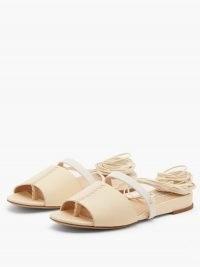GABRIELA HEARST Tara beige wraparound leather sandals | low wedge heel summer shoes