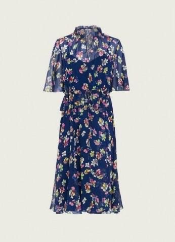 L.K. BENNETT TATE NAVY DAISY PRINT CRINKLE SILK DRESS / dark blue dresses with vintage floral prints - flipped