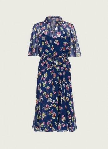 L.K. BENNETT TATE NAVY DAISY PRINT CRINKLE SILK DRESS / dark blue dresses with vintage floral prints
