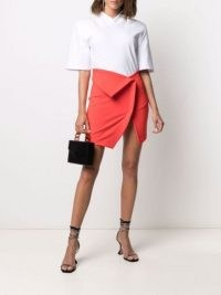 The Attico fold-detail skirt in lobster orange ~ chic contemporary asymmetric foldover skirts