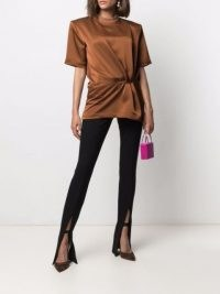 The Attico gathered-detail T-shirt ~ brown structured gathered waist tee with shoulder pads