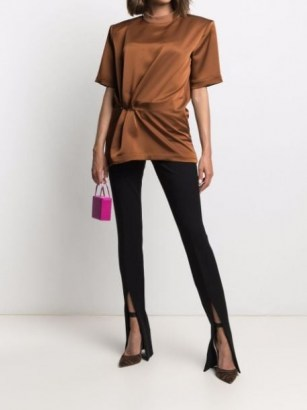 The Attico gathered-detail T-shirt ~ brown structured gathered waist tee with shoulder pads - flipped