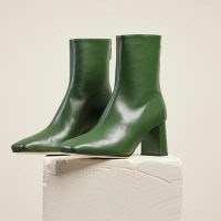 DEAR FRANCES CUBE BOOT ~ green leather square toe boots