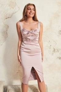 LAVISH ALICE tie back midi dress in dusty lilac pink ~ glamorous front split evening dresses