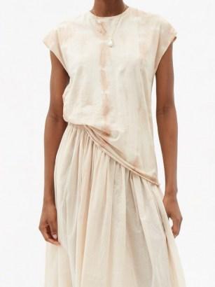 MIMI PROBER Tie-dyed organic-cotton jersey T-shirt / pink cap sleeve tee - flipped