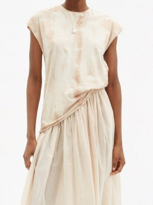 MIMI PROBER Tie-dyed organic-cotton jersey T-shirt / pink cap sleeve tee