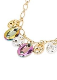 TIMELESS PEARLY 24kt gold-plated coffe bean necklace / chain necklaces with iridescent charms