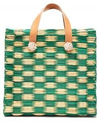 HEIMAT ATLANTICA Tom Tom large tote basket bag / green and beige woven bags / shell embellished summer accessories
