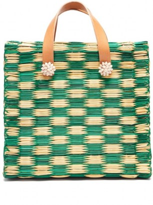 HEIMAT ATLANTICA Tom Tom large tote basket bag / green and beige woven bags / shell embellished summer accessories - flipped