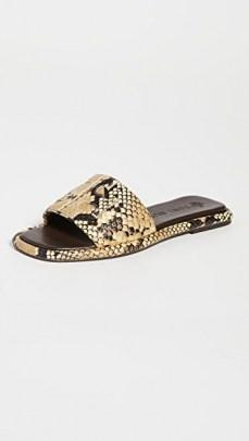 Tory Burch Double T Sport Slides Pale Desert Roccia | snake effect flat sandals - flipped