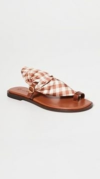 Tory Burch Selby Scarf Sandals Gingham/Burnt Cuoio / checked fabric flats