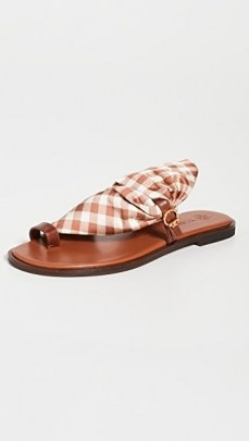 Tory Burch Selby Scarf Sandals Gingham/Burnt Cuoio / checked fabric flats - flipped