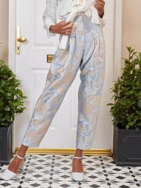 SISTER JANE DREAM Emblem Floral Peg Trousers Baby Blue and Silver - flipped