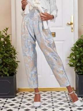 SISTER JANE DREAM Emblem Floral Peg Trousers Baby Blue and Silver