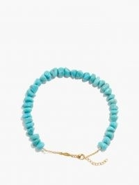 Blue stone anklets | JACQUIE AICHE Turquoise & 14kt gold anklet | summer jewellery