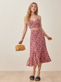 REFORMATION Ursula Two Piece in Flower Girl / red floral skirt and cami set / strappy summer co ord