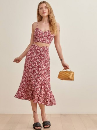 REFORMATION Ursula Two Piece in Flower Girl / red floral skirt and cami set / strappy summer co ord - flipped