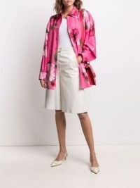 Valentino pink floral-print belted coat – cotton curved hem shirt-style coats – bright shackets