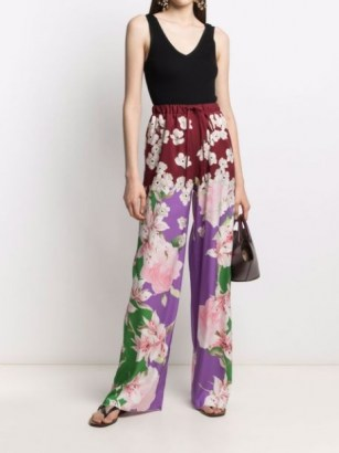 Valentino floral-print drawstring waist trousers - flipped