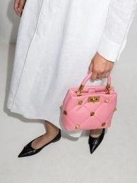 Valentino Garavani small Roman Stud flamingo pink leather tote bag ~ luxe studded handbags