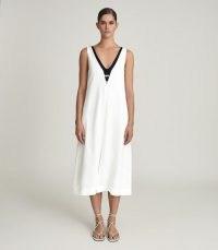 REISS VALETTA COLOUR BLOCK MIDI DRESS NAVY/WHITE / sleeveless shift dresses