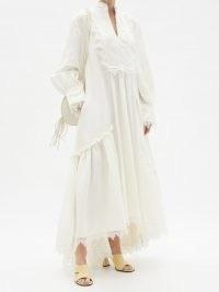 AJE Veil tiered lace-trimmed linen-blend dress ~ romantic vintage style dresses ~ high low hemlines