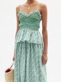 LORETTA CAPONI Vera shirred floral-print cotton top / strappy green fitted bodice tops