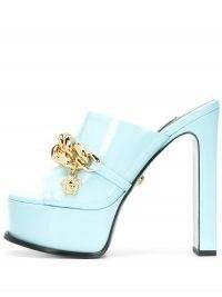 Versace chain-trim platform mules | retro peep toe platforms | chunky blue patent vintage style high heel mule