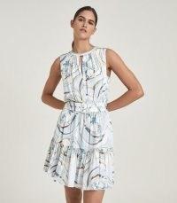 REISS VIENNA SWIRL PRINTED MINI DRESS BLUE/GREY ~ sleeveless dresses with belts