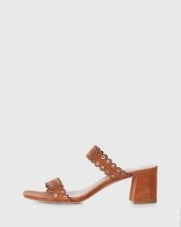 PAIGE Viera Mule Honey Suede ~ brown block heel scalloped strap mules