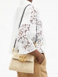 VALENTINO GARAVANI Beige V-Sling San Gallo embroidered canvas bag ~ boxy shape shoulder bags with top handle ~ luxe handbags