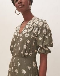 JIGSAW WANDERING POPPY TEA DRESS / green floral gathered waist dresses