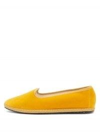 VIBI VENEZIA Whipstitched yellow-velvet furlane slippers | bright flats